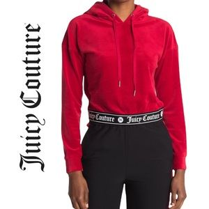 Juicy Couture Velour Cropped Long Sleeve Women's Hoodie in Coco Red